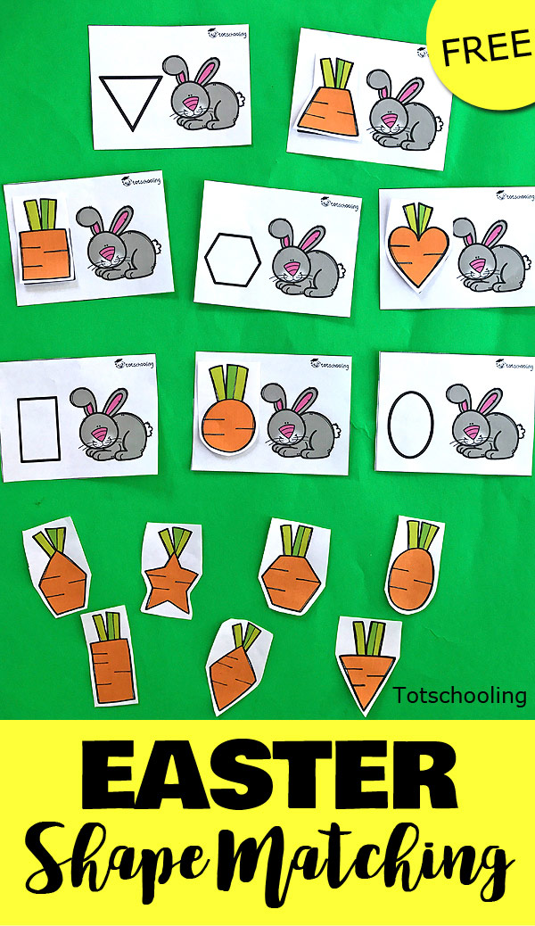 FREE shape matching activity for toddlers and preschoolers with a rabbit theme. Feed the bunny with the correct shaped carrot!
