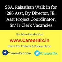 SSA, Rajasthan Walk in for 288 Asst, Dy Director, JE, Asst Project Coordinator, Sr/ Jr Clerk Vacancies