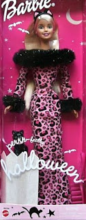 2002 Perrr-fectly Halloween Barbie doll leopard print pink dress costume