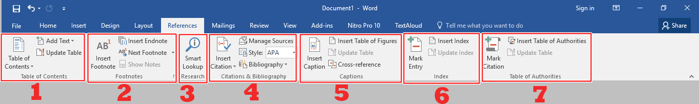 Menu bar References Microsoft Word 2016