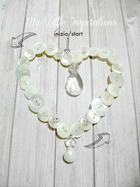 Ghirlanda cuore di bottoni e goccia di cristallo - inizio - My Little Inspirations