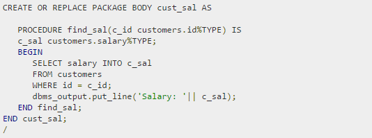 Package body to find salary based on id