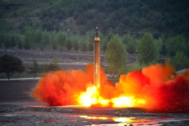 Image Attribute: The long-range strategic ballistic rocket Hwasong-12 (Mars-12) is launched during a test in this undated photo released by North Korea's Korean Central News Agency (KCNA) on May 15, 2017. KCNA via REUTERS