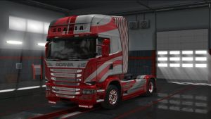 Red & White SX Skin for Scania Streamline