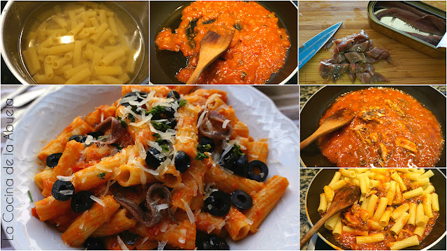 Penne rigate tomate atún anchoa receta