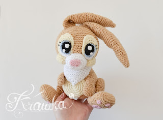 Krawka: Miss Bunny disney rabbit inspired crochet pattern by Krawka thumper fiance, forest cute animal