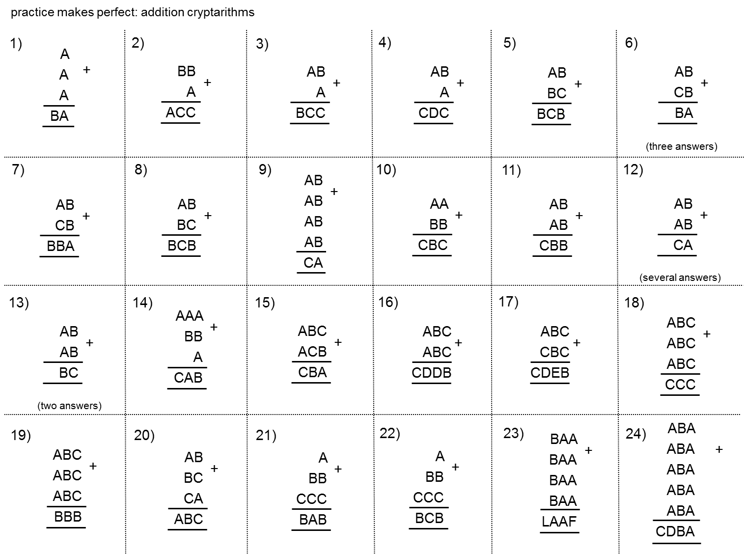 Primary Resources Column Addition Worksheets