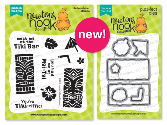 Tiki Time 4 x 4 Tiki Drinks stamp set & Die set by Newton's Nook Designs #newtonsnook