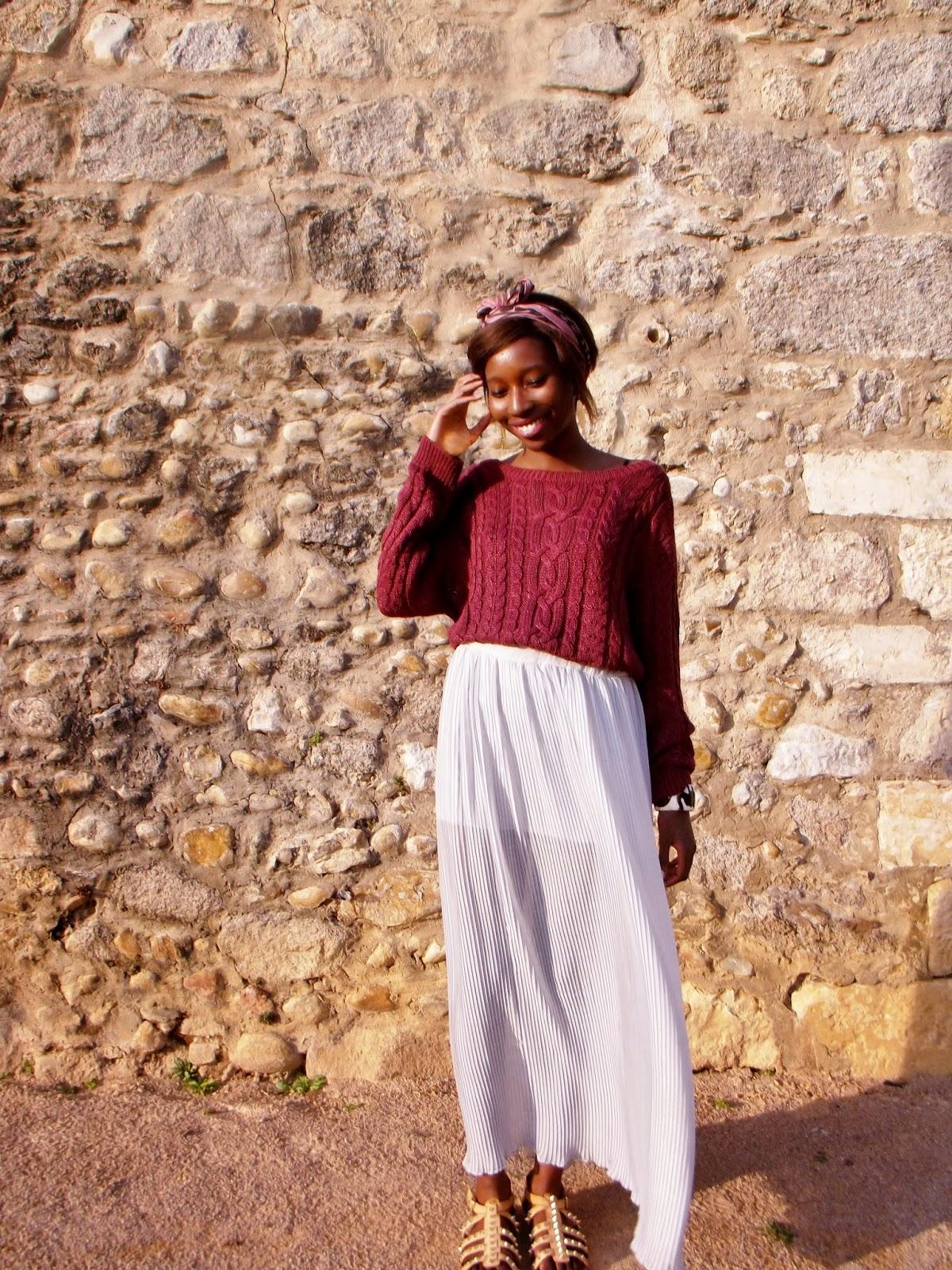 look-jupe-longue-plissee-pull-bordeaux-burgundy