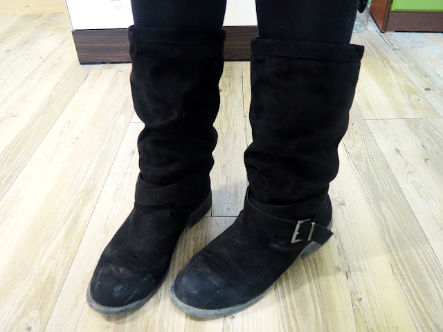 Sweater Weather   outfit shoe details of tall fake black suede boots with straps and buckles