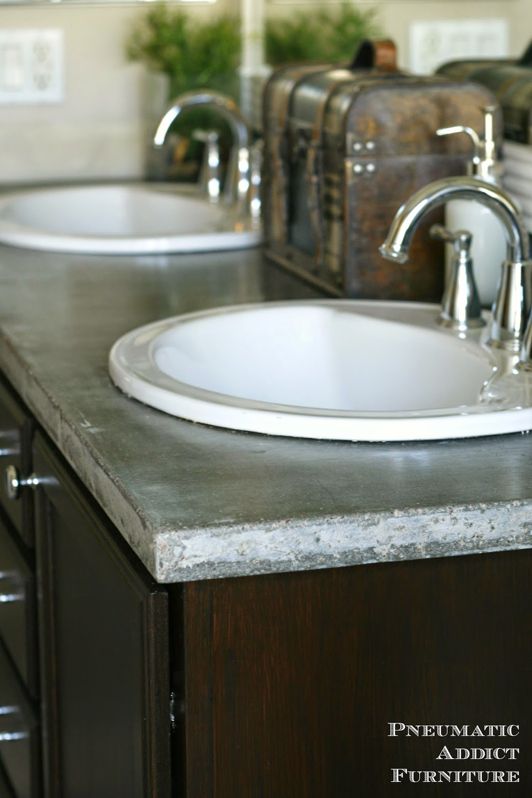 DIY Concrete Countertop With Sink Openings Pneumatic Addict - How much is a bathroom sink