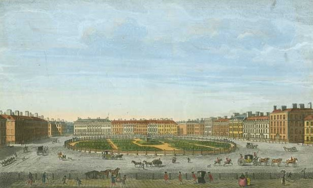 IN REVIEW: a view of London's Grosvenor Square, circa 1750; engraving by T. Bowles [Image © by Mayson Beaton Collection]