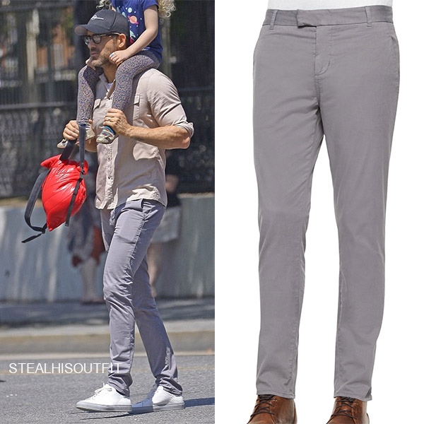 Ryan Reynolds in beige shirt and grey j brand trousers mens street style 2018