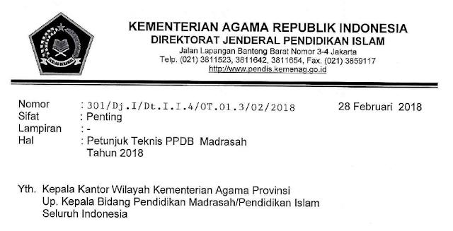 Juknis PPDB Madrasah Tahun 2018/2019