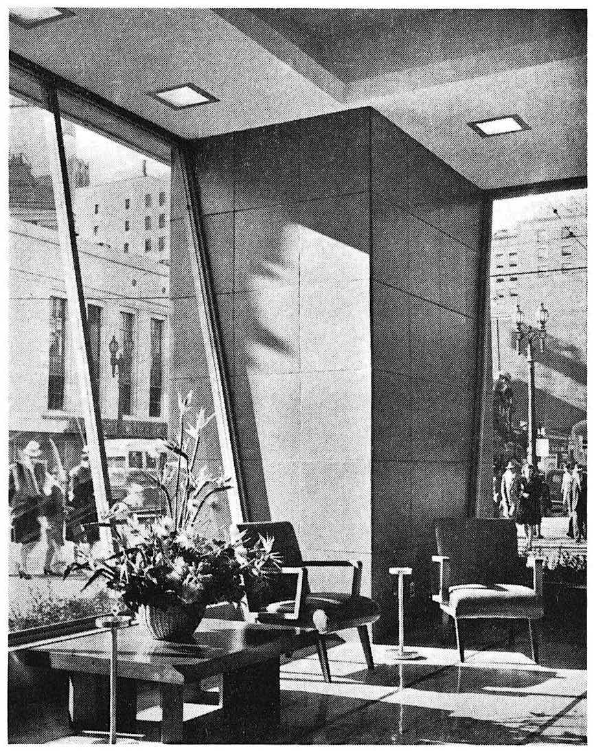 photograph of a 1950 bank interior
