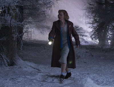 Dr Who, the Doctor, the Widow and the Wardrobe, Claire Skinner goes walkabout in the forest and snow