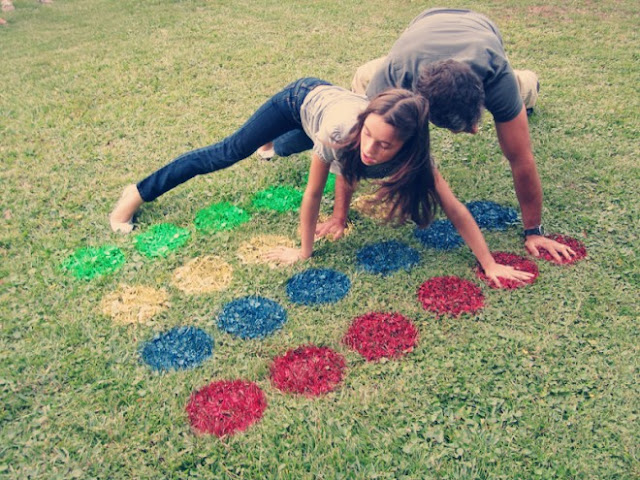 This DIY outside twister board on grass makes for a fun game.