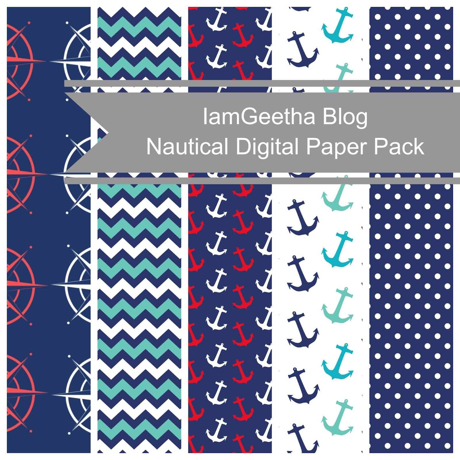 Iamgeetha Printables Scrapbooking Paper Nautical Digital Paper Pack