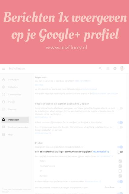 """Ga naar Instellingen en zorg dat onder Profiel """"Geef berichten van je Google+ communities weer in je  profiel"""" uitgevinkt staat."""