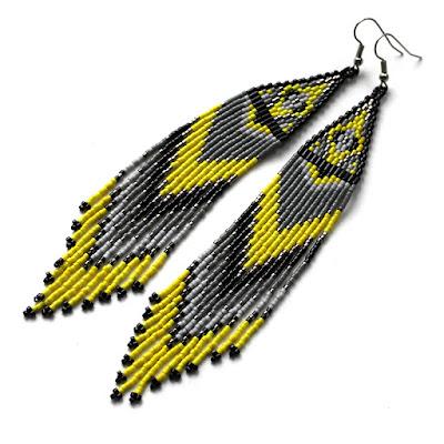 серьги из бисера с бахромой купить украшения из бисера в стиле бохо этно