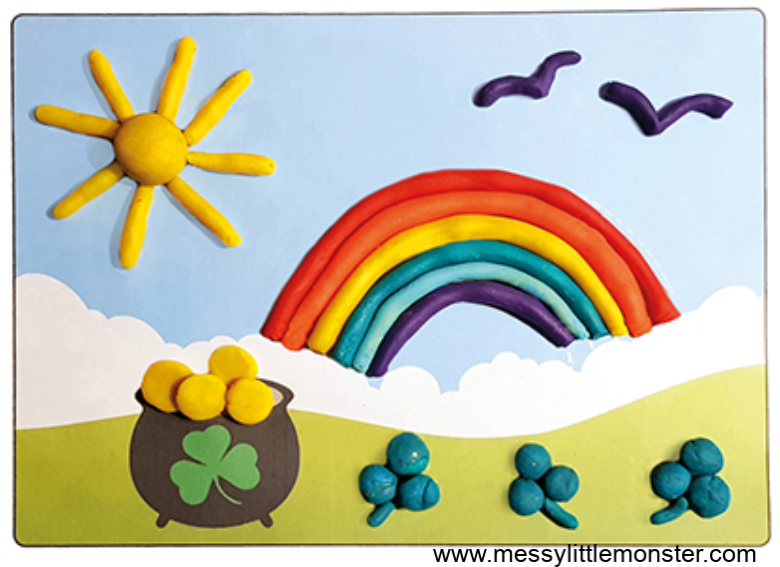 St Patricks Day playdough activity for toddlers and preschoolers