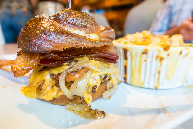 Pretzel Burger on a pretzel bun from The Stillery in Downtown Nashville, TN