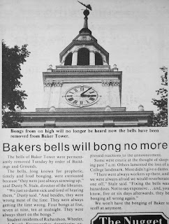 "A newspaper clipping with the title ""Bakers bells will bong no more."""