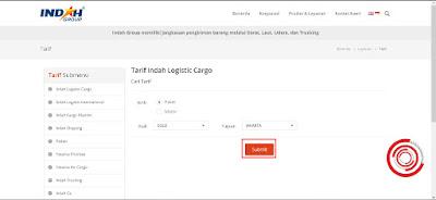 Sebagai contoh saya akan mengirimkan paket dari Solo ke Jakarta, setelah itu klik Submit