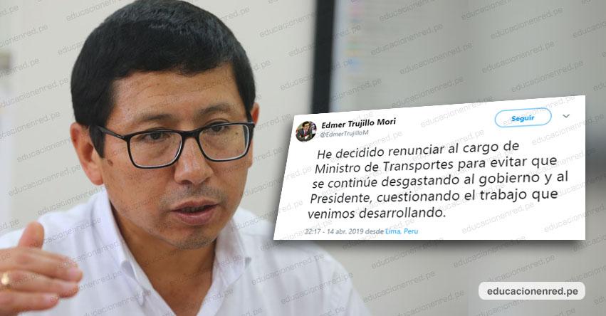 Renunció Ministro de Transportes y Comunicaciones Edmer Trujillo [VIDEO]