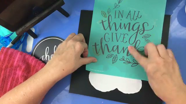 "Vintage Paint and more... using the Chalk Couture ""Give Thanks"" silkscreen transfer to make the give thanks words"