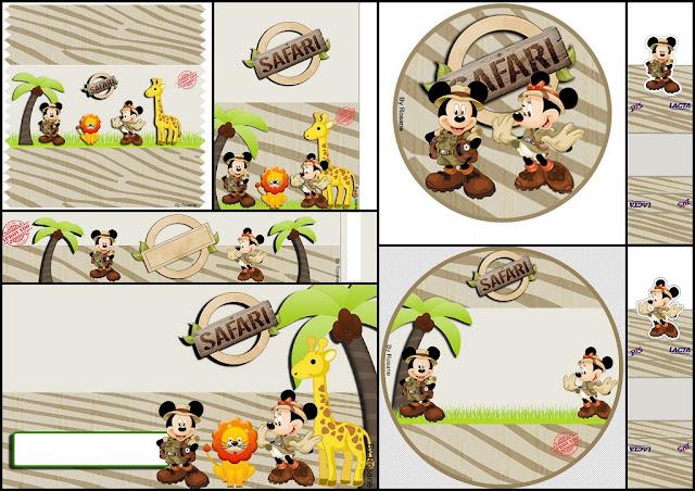 Mickey y Minnie de Safari: Etiquetas para Imprimir Gratis.