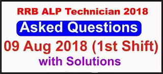 RRB ALP 9 August 2018 Solved Question Paper