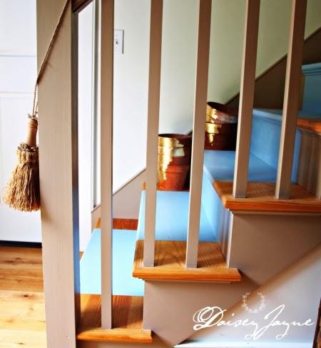 blue painted stair runner