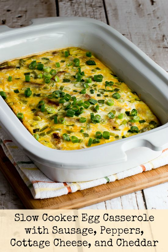 Casserole Crock Saturdays: Slow Cooker Egg Casserole with Sausage, Peppers, Cottage Cheese, and Cheddar from Kalyn's Kitchen found on SlowCookerFromScratch.com
