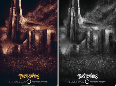 The Lord of the Rings The Two Towers Screen Print by Karl Fitzgerald x Bottleneck Gallery