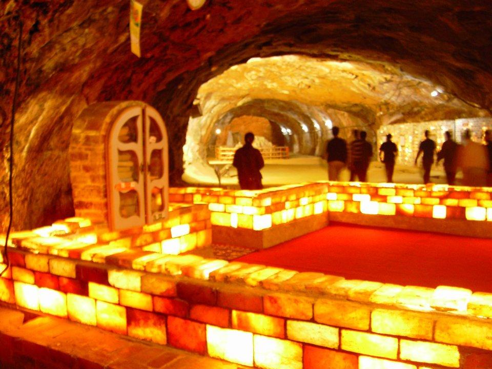 Illuminated (Salt Mosque) inside the visitors' area of Khewra Salt Mines, Pakistan1
