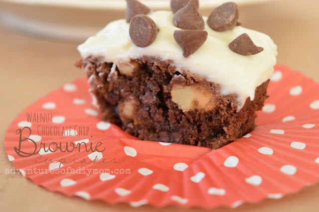 Chocolate Chip Walnut Brownie Cupcakes