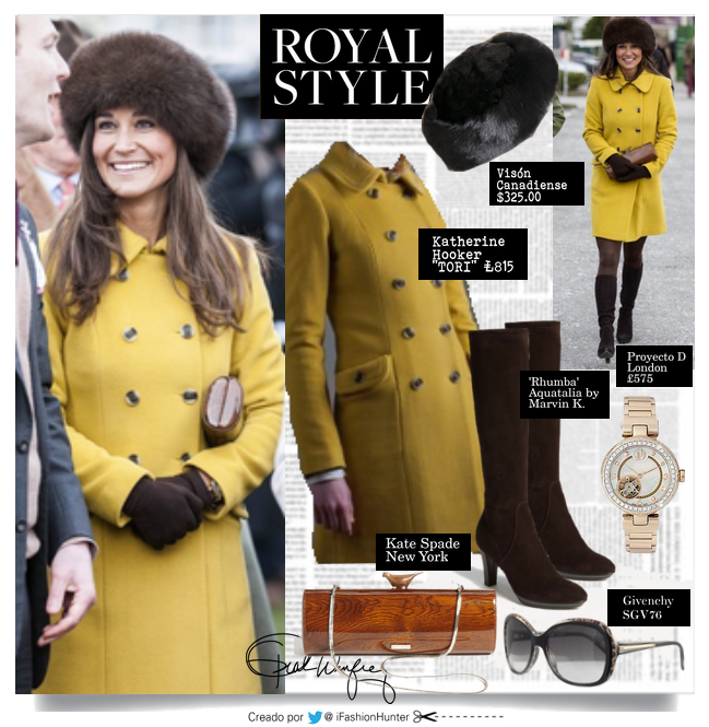 LOOK PIPPA MIDDLETON  ABRIGO: Tori - by Katherine Hooker London  £ 815  BOTAS: 'Rhumba' by Aquatalia by Marvin K. (color: marrón chocolate) $698.00  MEDIAS: opacas color: chocolate  GORRO PIEL: made in Canada  ANTEOJOS: Givenchy SGV767  CARTERA:  Kate Spade New York RELOJ: Proyecto D London