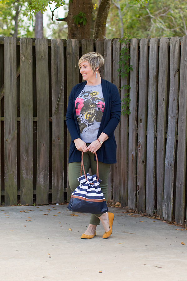 olive jeans and navy cardigan