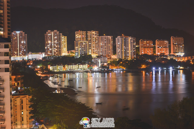 Beautiful night scenery of Penang Island from Flamingo by the Beach, Penang