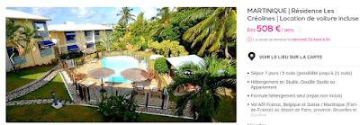 Tarif séjour Martinique avec location voiture Vente Privée Veepee. Séjour Martinique vol, hôtel, location voiture incluse à la Résidence les Créolines.
