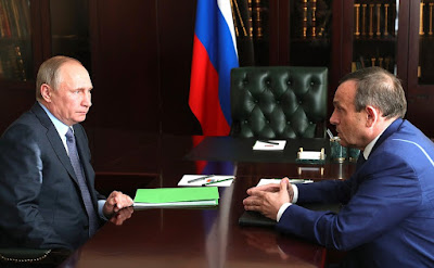Vladimir Putin with Acting Head of Mari El Republic Alexander Yevstifeyev.