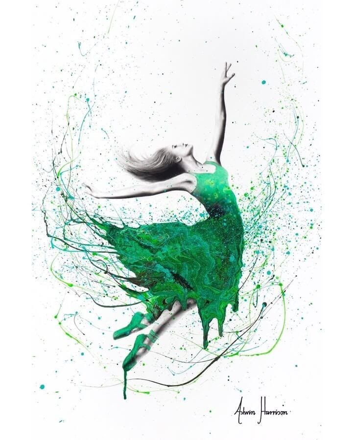 02-Ballet-in-Green-Ashvin-Harrison-Acrylic-Paintings-www-designstack-co