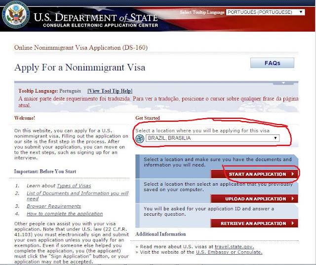 Formulário para solicitação do visto para os EUA