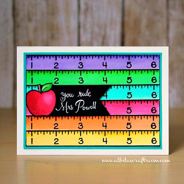 "Sunny Studio Stamps: School Time Teacher Appreciation ""You Rule"" Ruler Card by Alba"