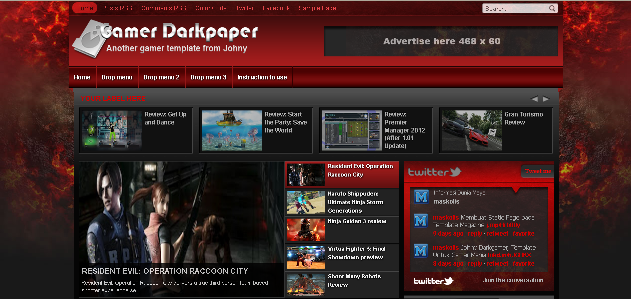 FREE Gamer Darkpaper Blogger Template