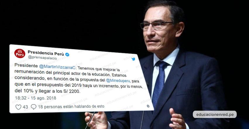 Presidente Vizcarra anunció aumento de sueldo para maestros, pago de deuda social y cambios en la Derrama Magisterial [VIDEO]
