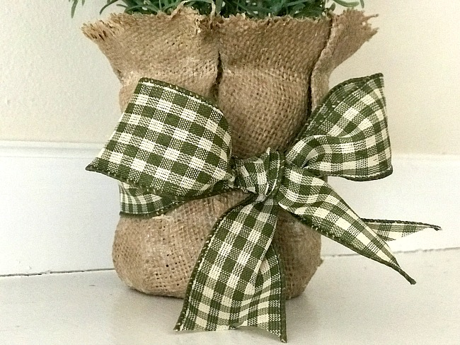 stiffened burlap with a bow