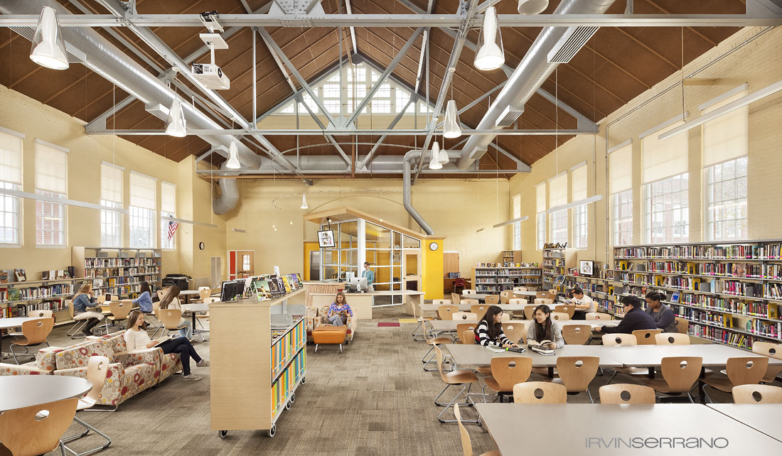 High school students studying in the newly renovated library at Thorton Academy in Saco, Maine.
