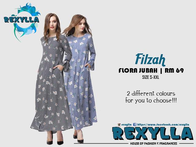 rexylla, flora jubah, trumpet jubah, flora trumpet, filzah collection